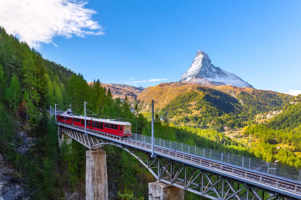 Zermatt, Switzerland. Gornergrat train on bridge stock photo