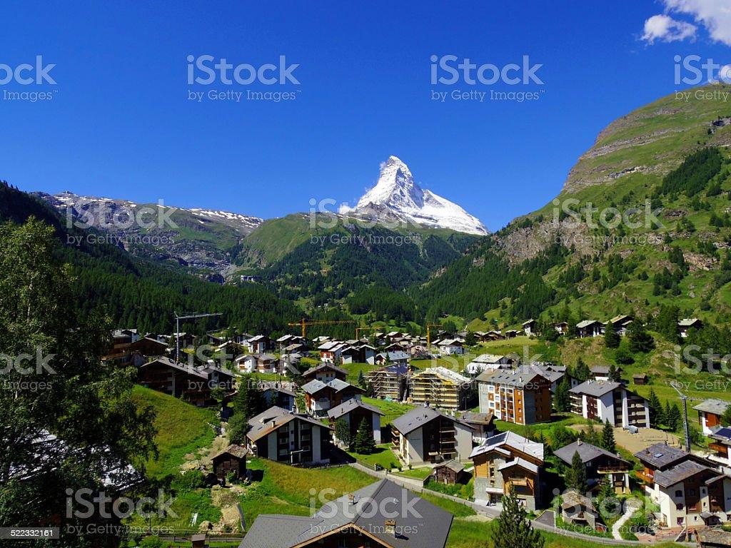 Zermatt Switzerland, green city stock photo