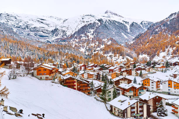 Zermatt Town, Switzerland Aerial view of Zermatt town at winter, Switzerland. zermatt stock pictures, royalty-free photos & images