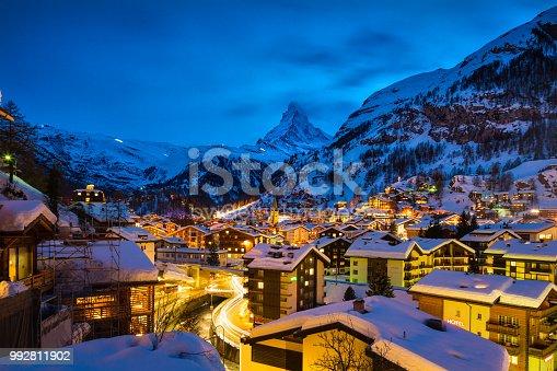 istock Zermatt town with Matterhorn peak in Mattertal, Switzerland, at dawn 992811902