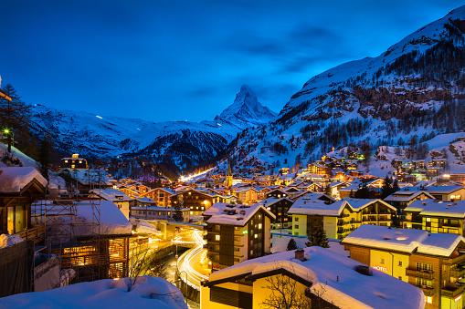 Zermatt town with Matterhorn peak in Mattertal, Switzerland, at dawn