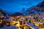 World famous Zermatt town with Matterhorn peak in Mattertal, Valais canton, Switzerland, at dusk in winter. Taken by Sony a7R II, 42 Mpix.