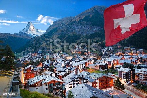 istock Zermatt village with view of Matterhorn in the Swiss Alps 486574518