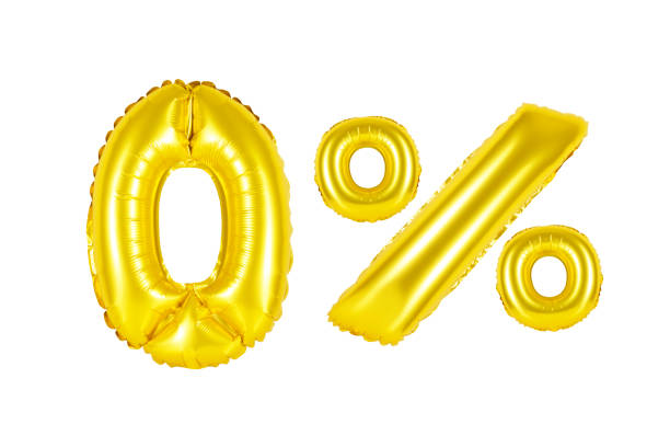 zero 0 percent from golden balloons stock photo