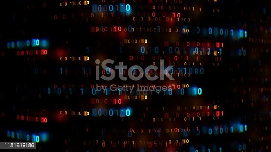 945925258 istock photo Zero and one code digits lines. Rendered with depth of field. 1181619186