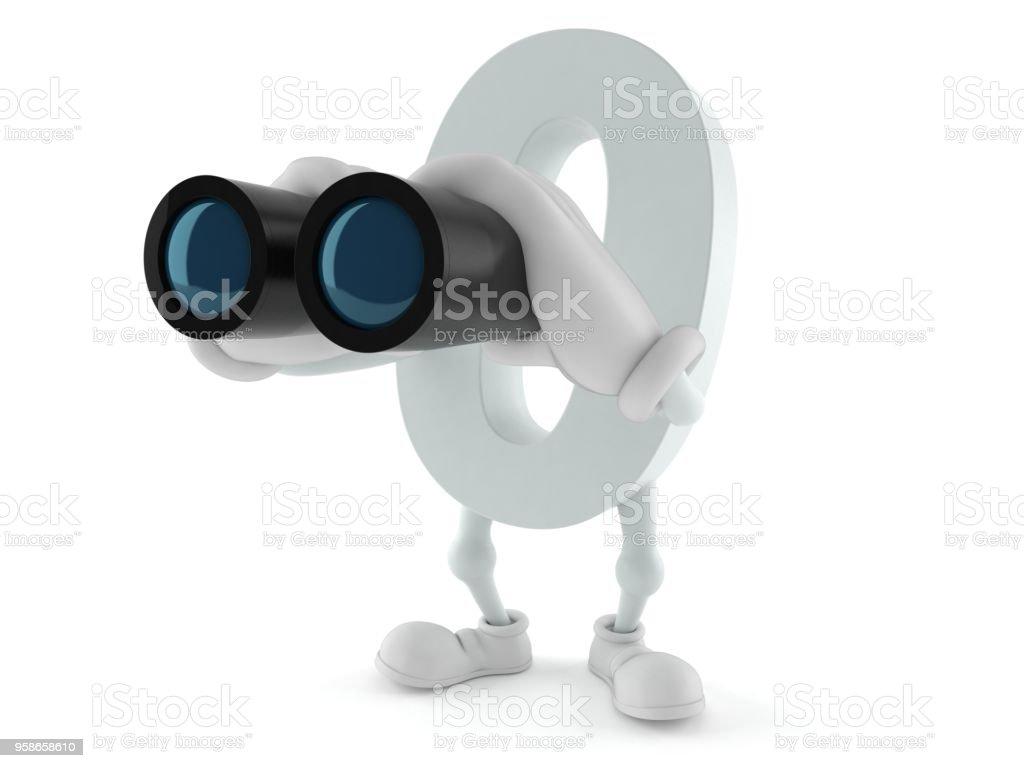 Zero character looking through binoculars stock photo