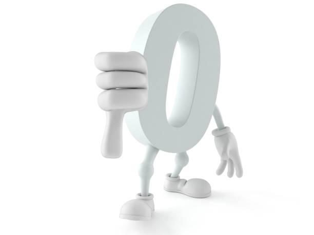 Zero character with thumb down stock photo