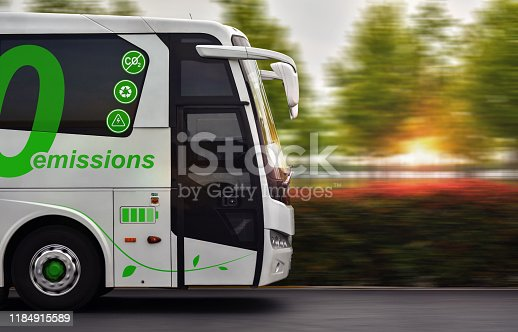 Bus with zero emissions in motion on background nature