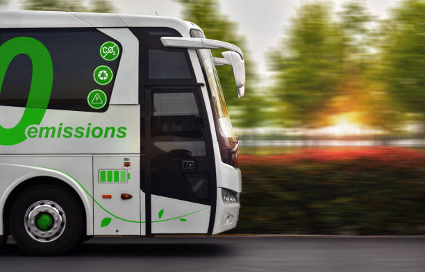 Zero emissions bus Bus with zero emissions in motion on background nature bus stock pictures, royalty-free photos & images