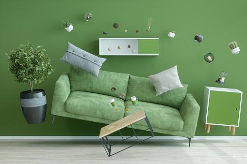 Zero Gravity Green Living Room