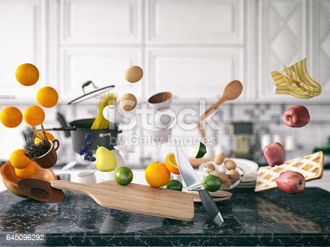 Zero gravity concept with kitchen utensil and food
