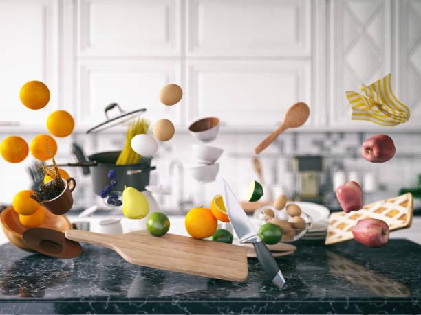 Zero Gravity in Kitchen stock photo