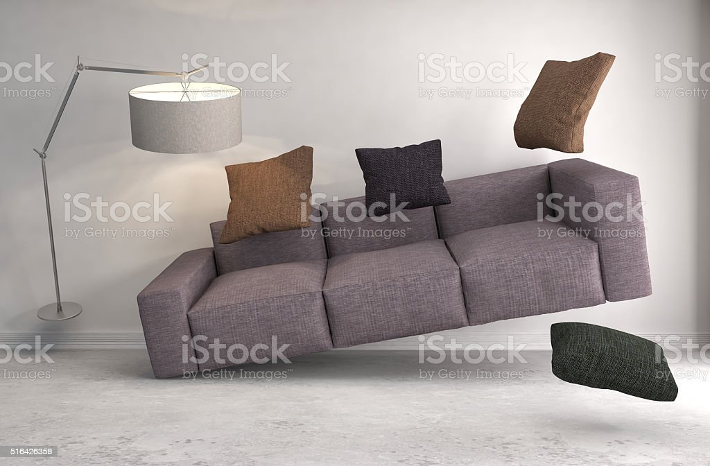 Zero Gravity Sofa hovering in living room. 3D Illustration stock photo