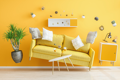 Zero Gravity Yellow Living Room