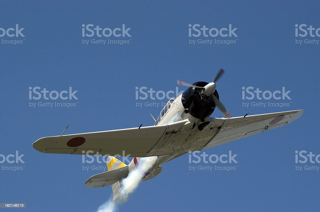 Zero - Japanese Fighter in flight stock photo