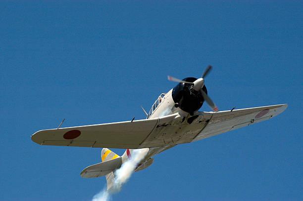 Zero - Japanese Fighter in flight stock photo