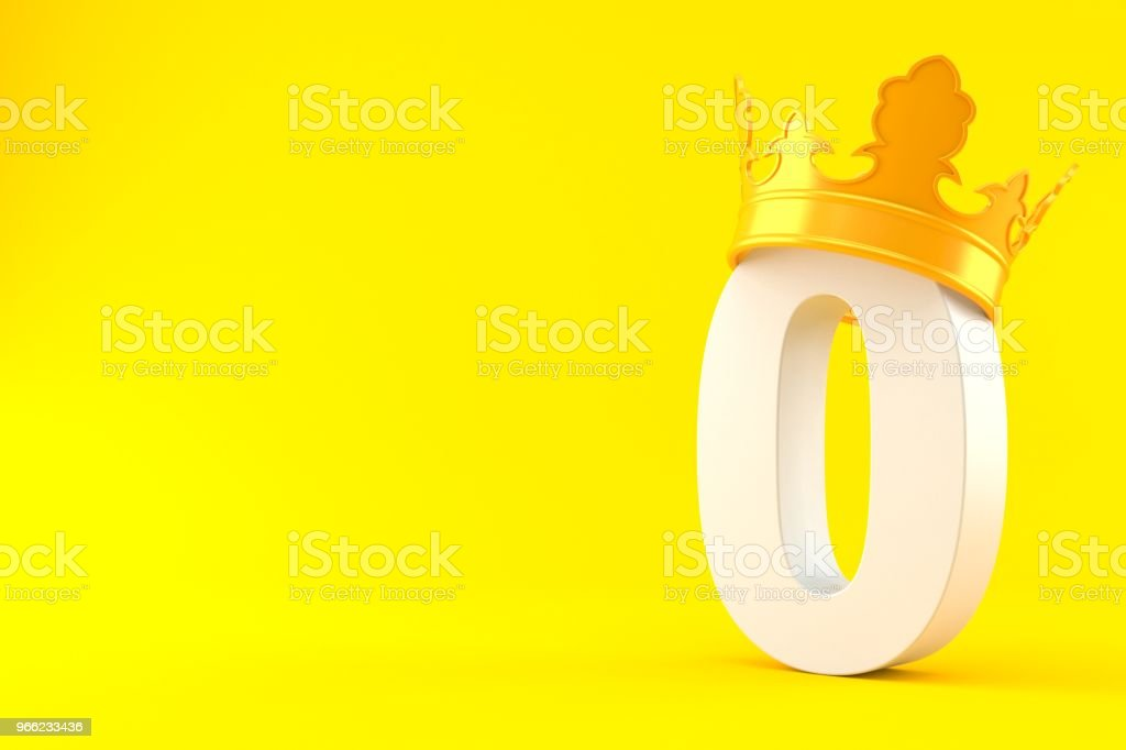 Zero number with crown stock photo