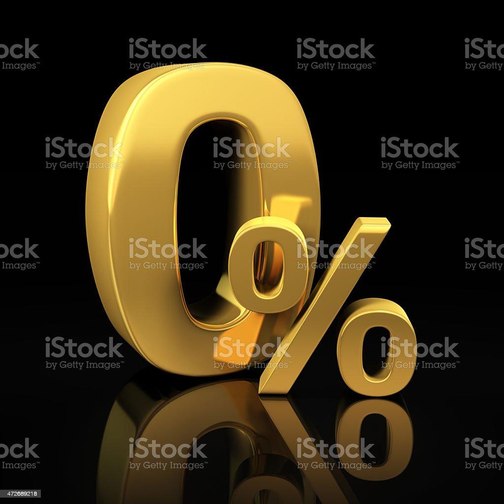 Zero percent gold letters stock photo