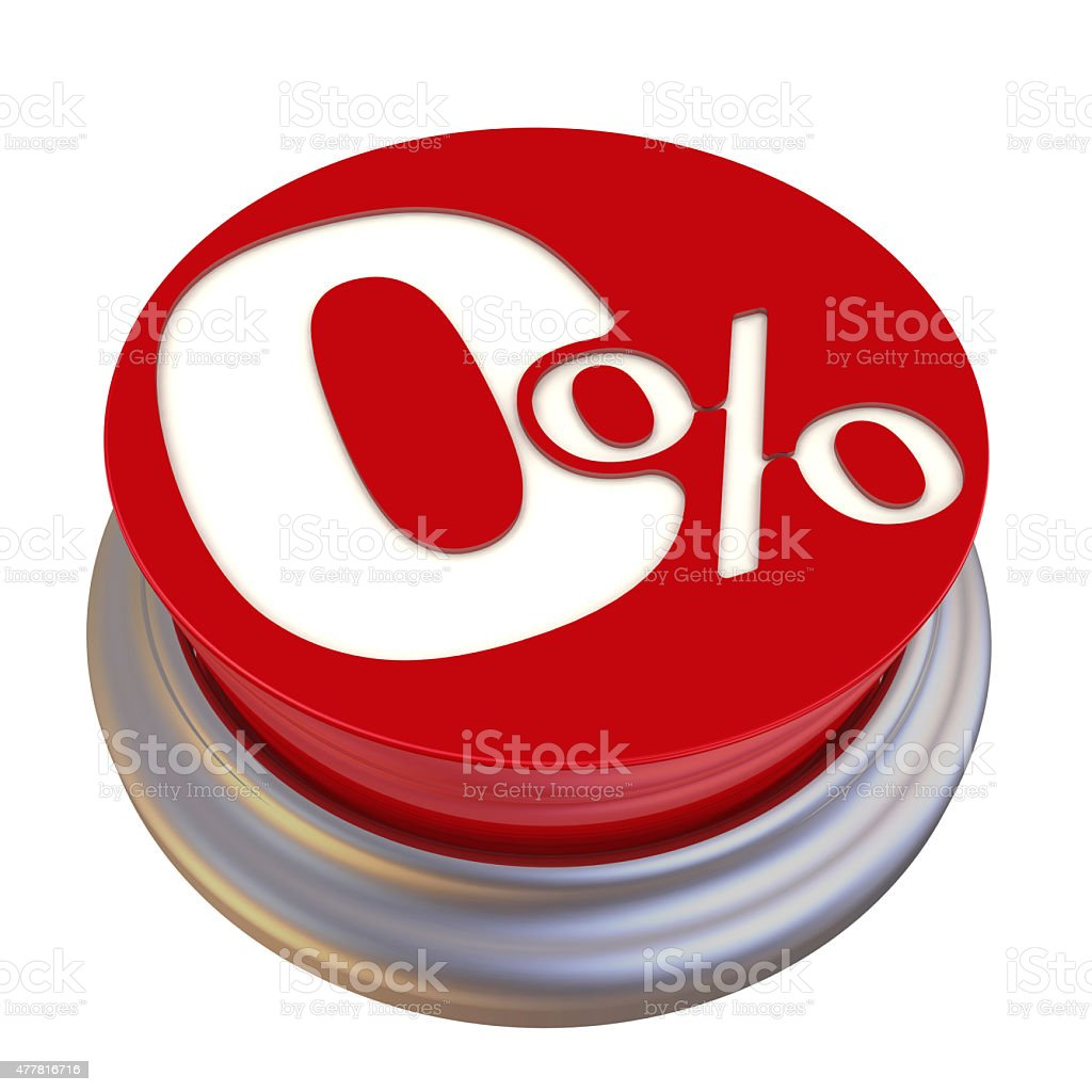 Zero percent Off Button stock photo