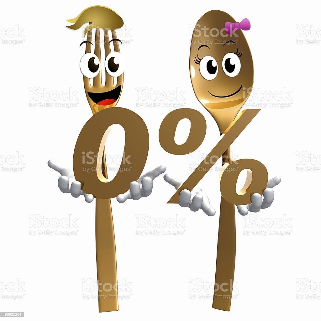 Zero percent offer from restaurant icon symbols royalty-free stock photo