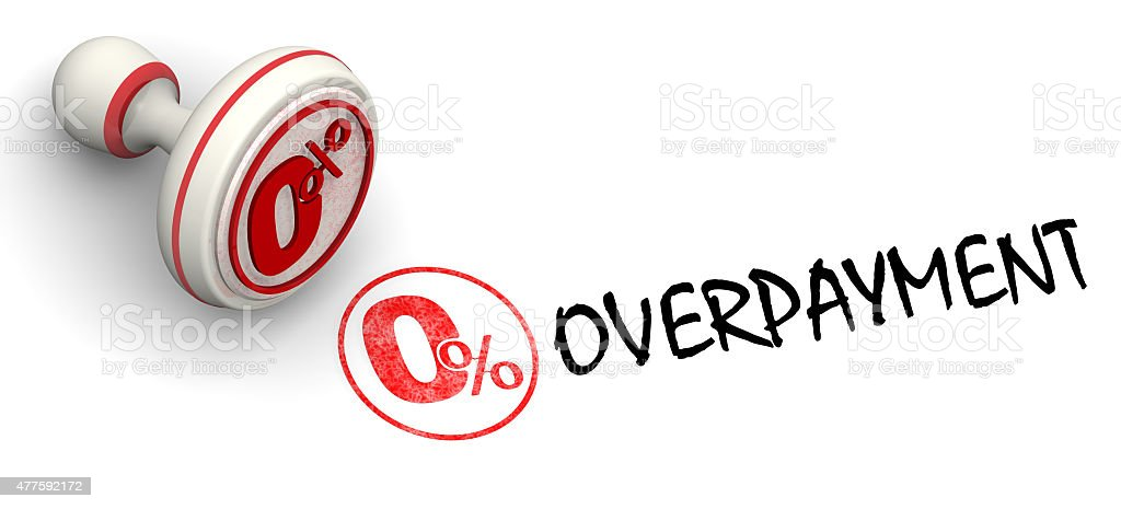 Zero percent overpayment. Seal and imprint stock photo