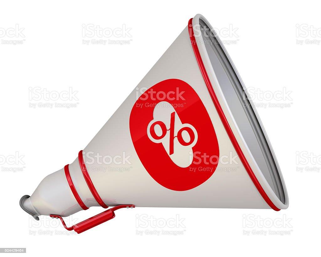 Zero percent. The megaphone with the red symbol stock photo