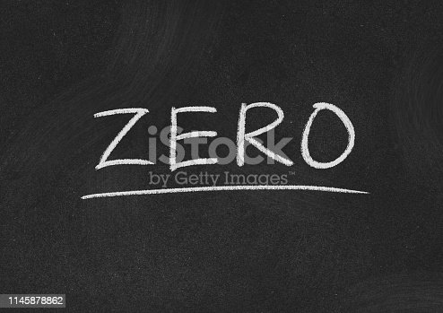 zero concept word on a blackboard background