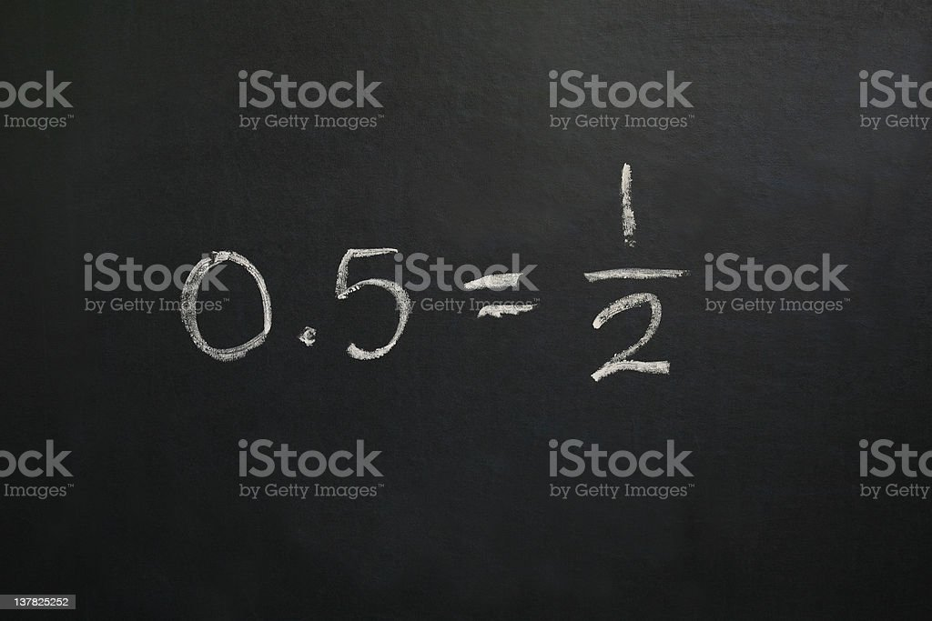 Zero Point Five Equals One Half stock photo