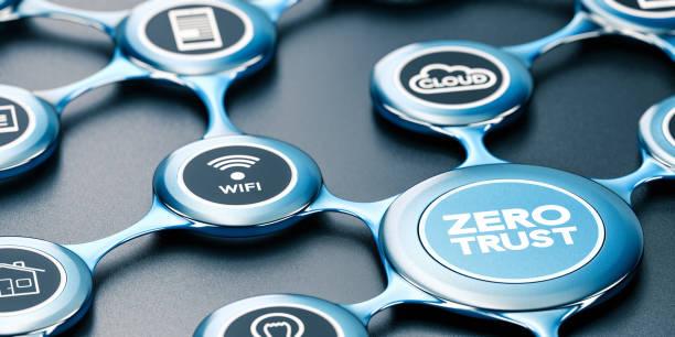 Zero Trust Security Model. Secured Network. stock photo