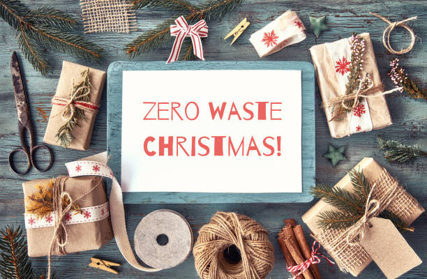 Zero waste Christmas, concept flat layout on rustic wood. Hand crafted gifts with natural Christmas decorations without plastic. Flat lay, top view, zero waste Xmas text. stock photo
