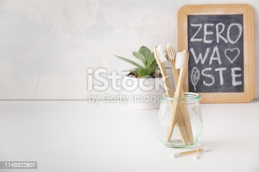 istock Zero waste concept. Eco-friendly bathroom accessories, copyspace 1143322807
