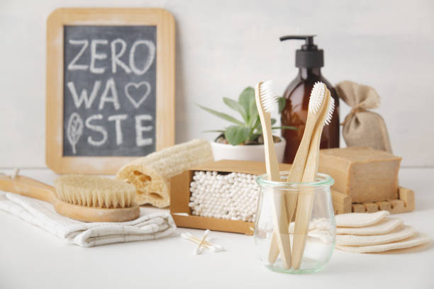 Zero waste concept. Eco-friendly bathroom accessories, copyspace stock photo