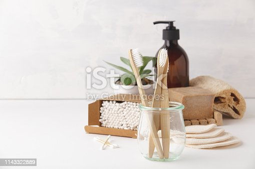 istock Zero waste concept. Eco-friendly bathroom accessories, copyspace 1143322889
