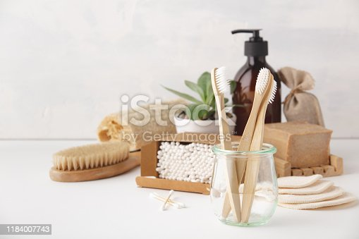 istock Zero waste concept. Eco-friendly bathroom accessories 1184007743