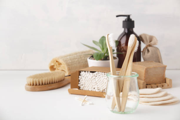 Zero waste concept. Eco-friendly bathroom accessories stock photo