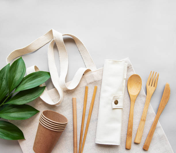 zero waste concept,  recycled tableware - silverware stock pictures, royalty-free photos & images
