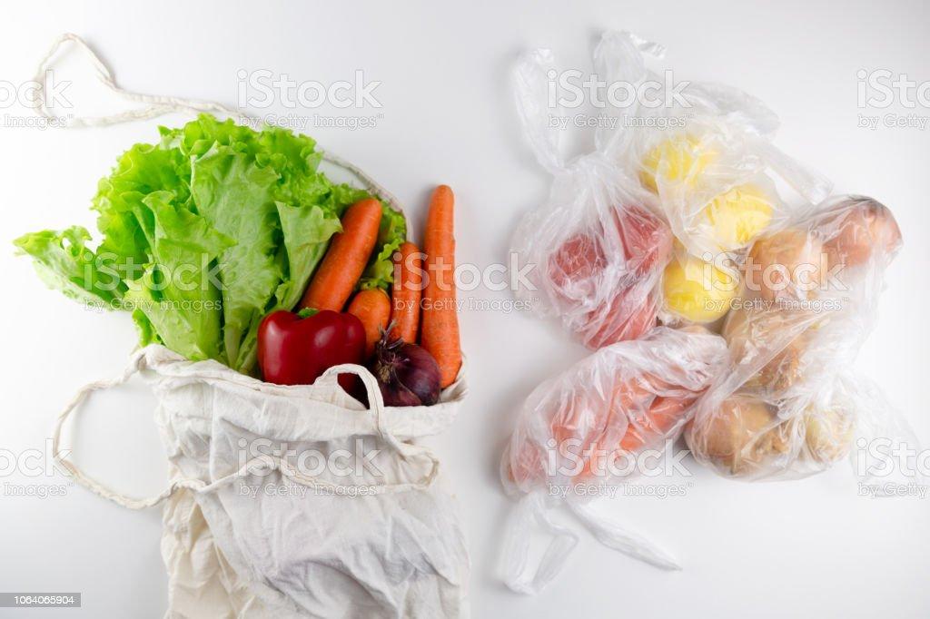 Zero waste concept. Vegetables in a woven bag. Woven bag vs plastic...