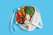 istock Zero waste concept. Vegetables in eco friendly reusable textile bag on blue background. Plastic free. Healthy fresh vegetarian food. 1185210205