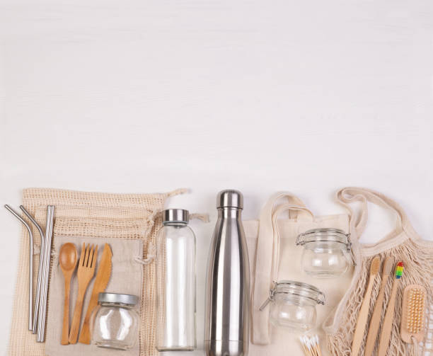 Zero waste eco friendly reusable objects stock photo
