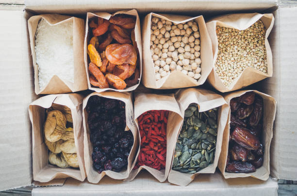 Zero Waste Food Storage Eco Bag Top View stock photo