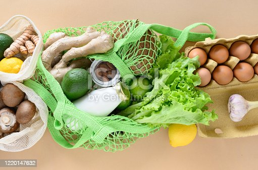1126188273 istock photo Zero waste. Healthy vegan goods, mesh bag, lime, ginger, salad, vegetables. Sustainable lifestyle. View from above. 1220147632