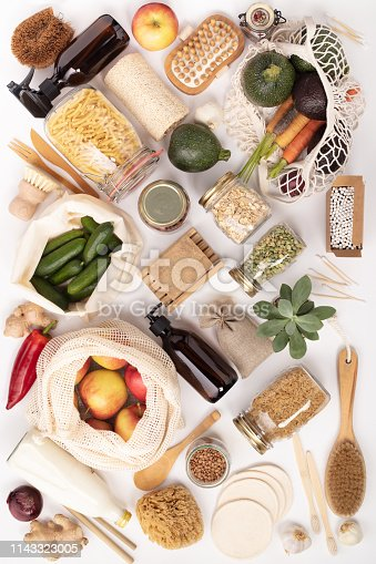 istock Zero waste lifestyle concept. Eco-friendly products, flat lay 1143323005