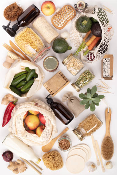 Zero waste lifestyle concept. Eco-friendly products, flat lay stock photo