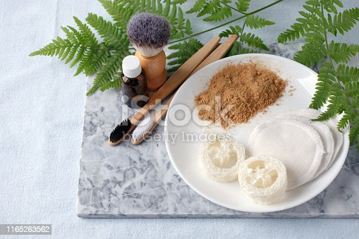 istock Zero waste natural cosmetics products on marble desk, organic plantbased cosmetic concept, eco-friendly background, minimal 1165263562