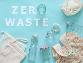 istock Zero waste paper text and eco bags, glass jars 1160567458