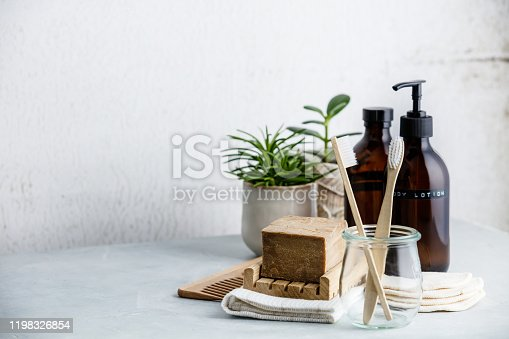 istock Zero waste, Recycle, Reuse, Sustainable lifestyle concept. Eco-friendly bathroom accessories 1198326854