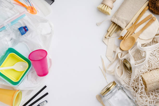 Zero waste, Recycling, Sustainable lifestyle concept, flat lay stock photo
