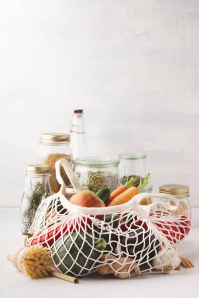 Zero waste shopping, Recycling, Sustainable lifestyle concept stock photo