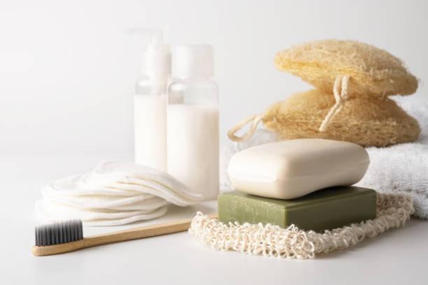 Zero waste, sustainable bathroom and lifestyle stock photo