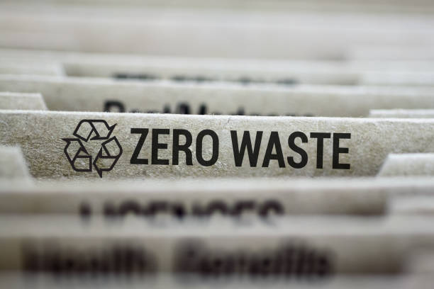 Zero waste titled file folder tab stock photo